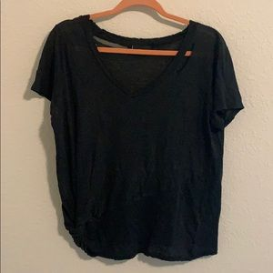 Black tie bottom shirt with ripped look NWOT